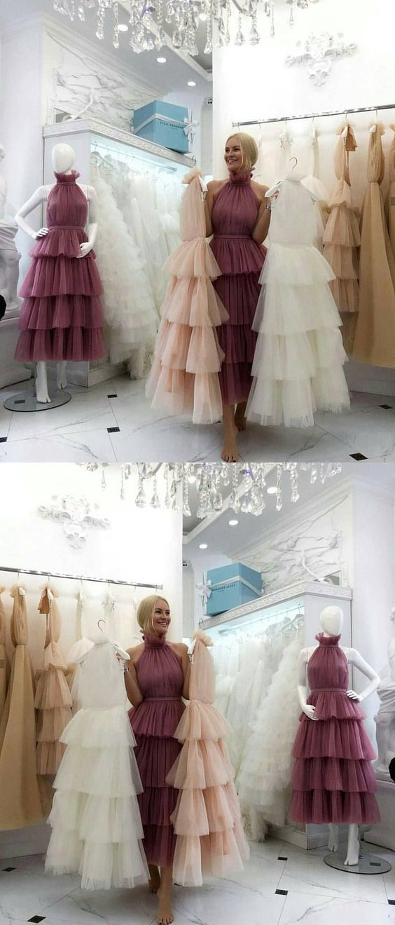 Cheap Prom Dresses Aline Tea-length Chic Long Blush Pink Simple Prom Dress