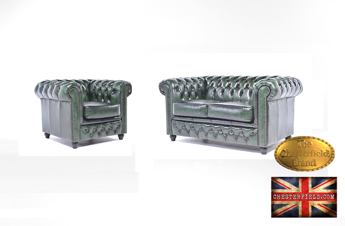 The Original Chesterfield Wash off Green  Sofas Set 2+1  -Real leather-Handmade