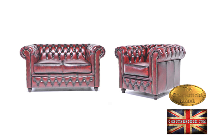 Original Chesterfield Wash off Red  Sofas Set 2+1  -Real leather-Handmade