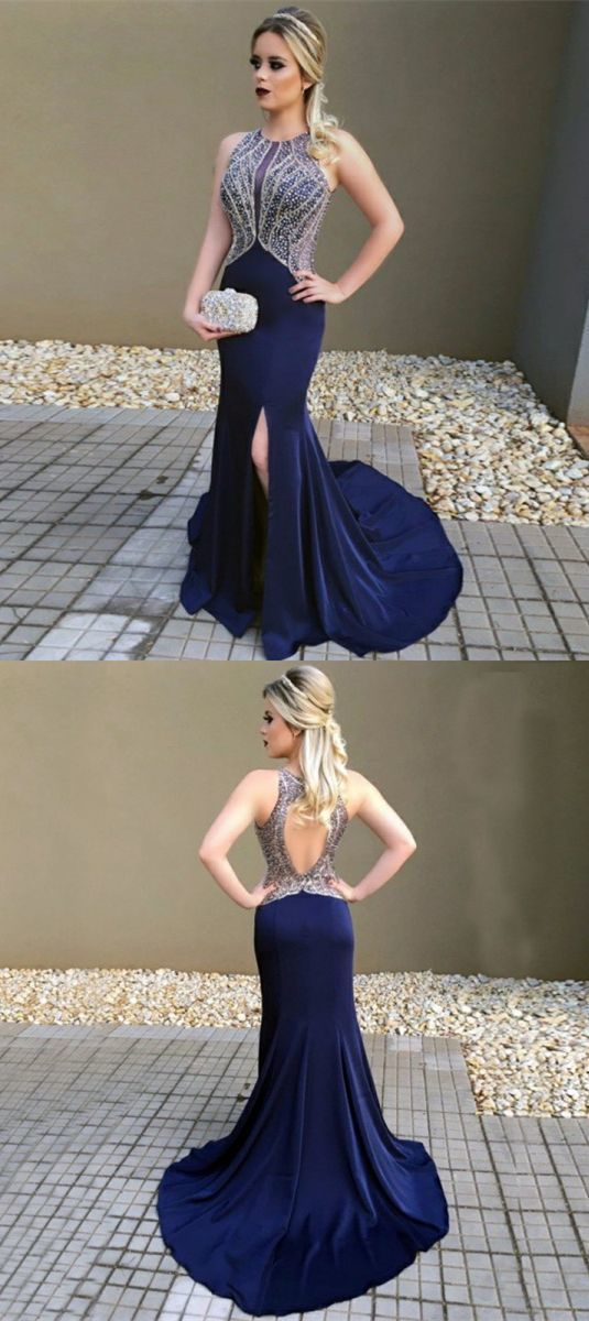 Mermaid Round Neck Open Back Dark Blue Stretch Satin Prom Dress with