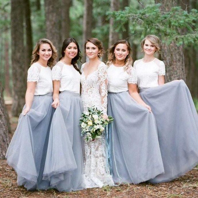 Short Sleeve White Top Light Grey Tulle Skirt Popular Bridesmaid Dress,Sexy
