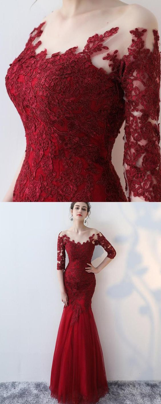 b10f6167d8e85c scoop lace appliqued red prom dress with long sleeves, mermaid long formal  dress
