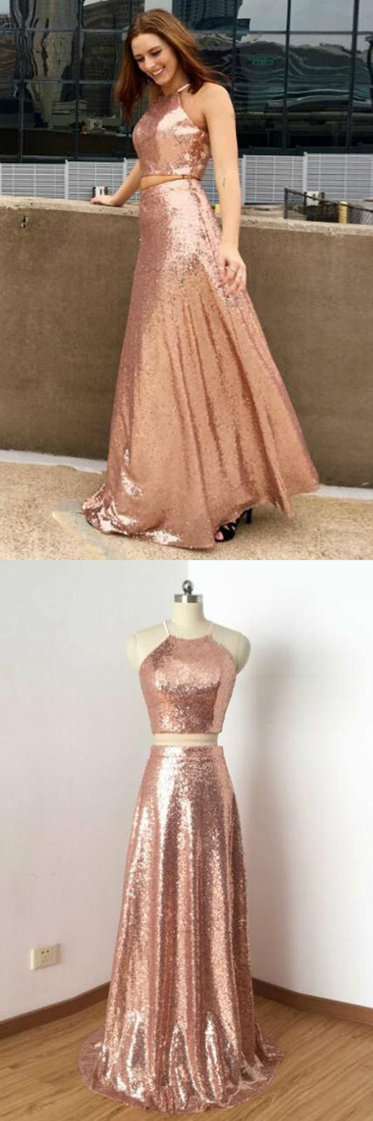New Arrival Two Piece Sequined Cheap Long A Line Prom Dress,Long Prom Dress,Sexy