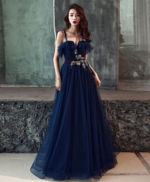 33bec287e7 Dark blue tulle long prom dress