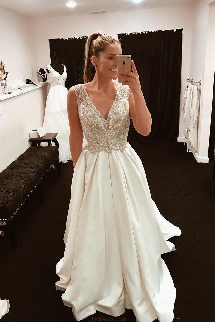 Elegant A-line V Neck Ivory Satin Long Party Dress,Sexy Party Dress,Formal