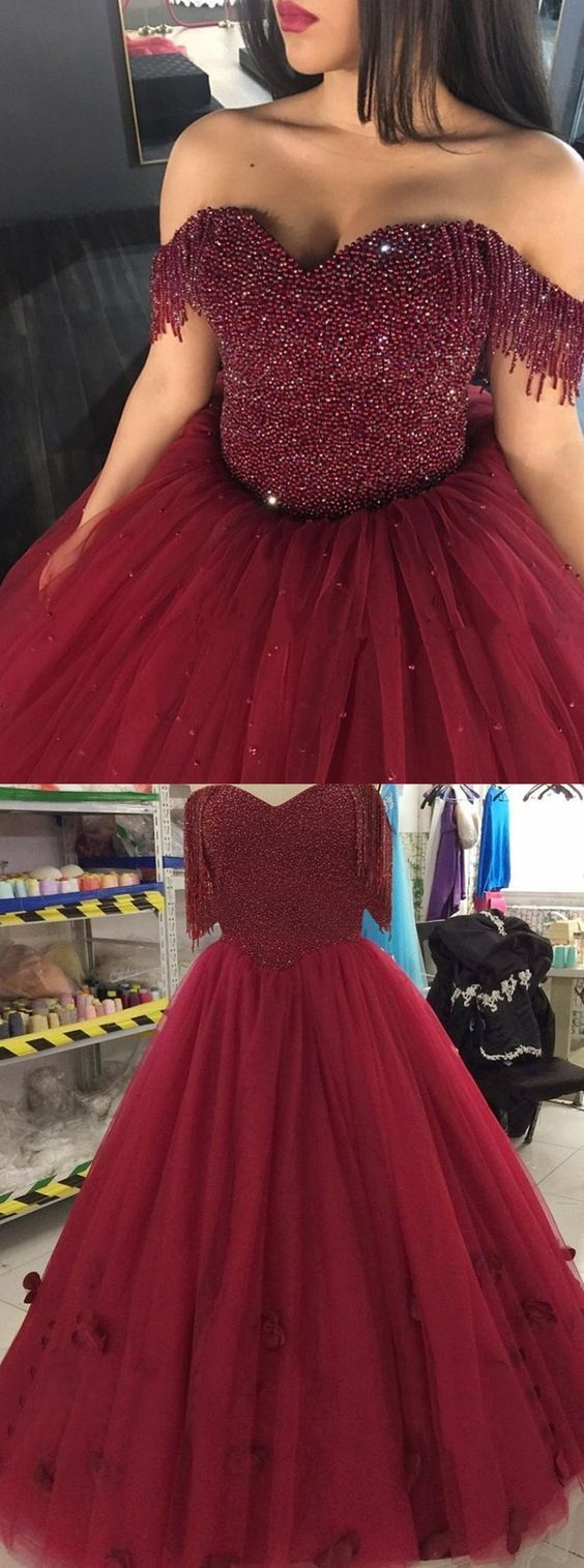 Ball Gown Off-the-Shoulder Burgundy Tulle Quinceanera Dress with Beading,Long