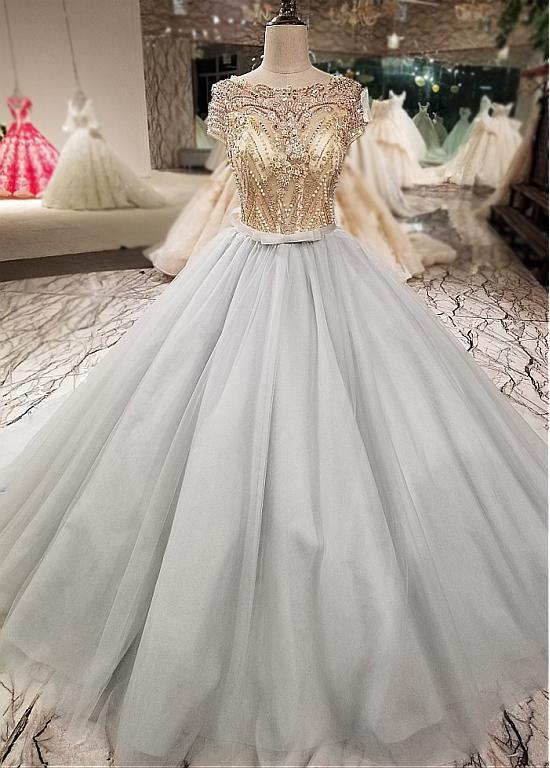 Bateau Neckline Ball Gown Wedding Dress With Beading,Tulle Quinceanera