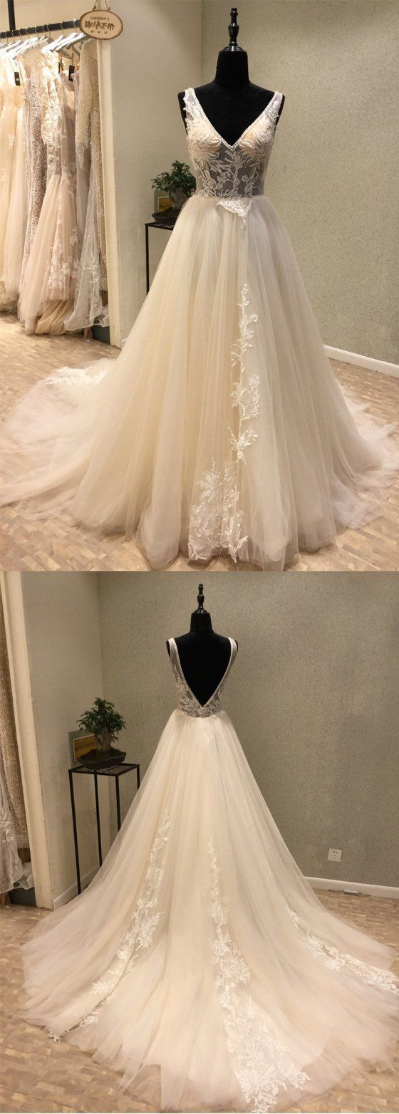 Charming V Neck Tulle Applique V Back Long Wedding Dress,Cheap Wedding