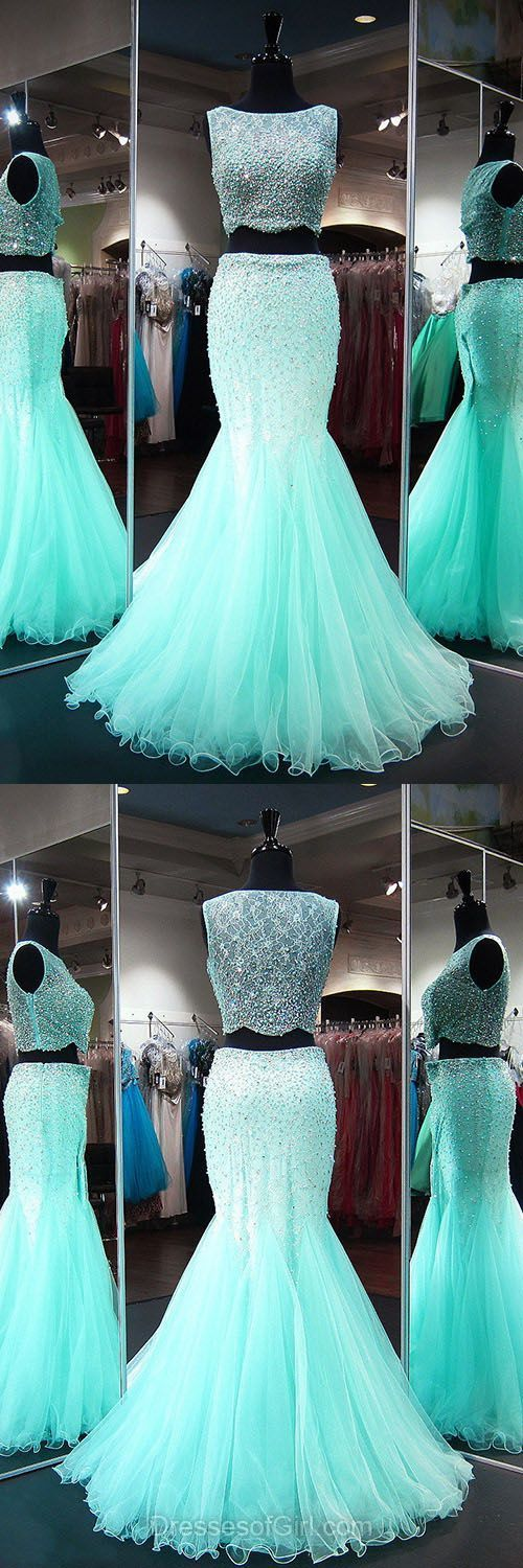 Beautiful Mermaid Scoop Neck Lace Evening Gowns, Two Pieces Long Party