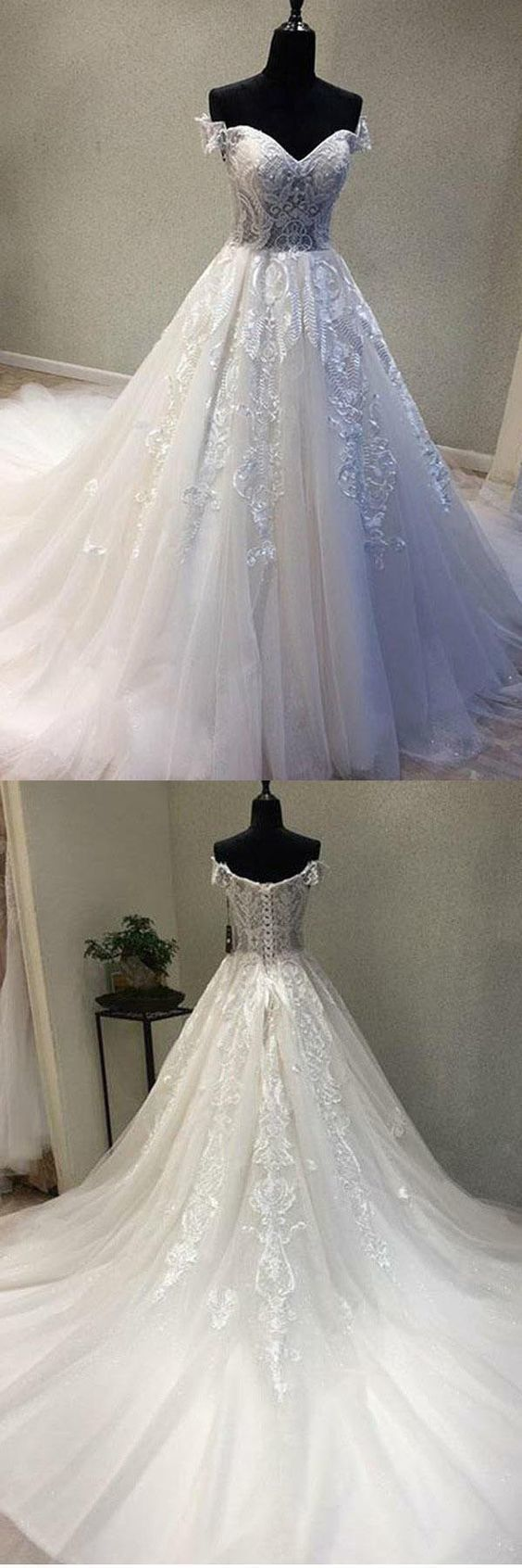 A-Line Off-the-Shoulder Wedding Dress with Appliques,Cheap Wedding Dress,8111931