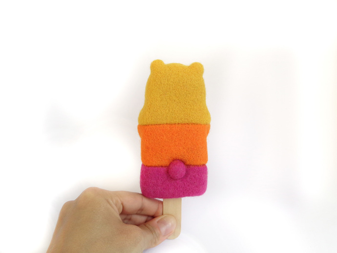 Popsicle Bear - Trio Mango, Orange, Raspberry, fiber Art Toy, needle felted