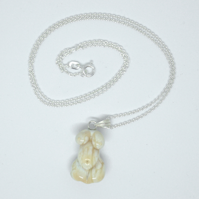 Creamy Goddess Pendant, Lampwork Glass, on sterling chain