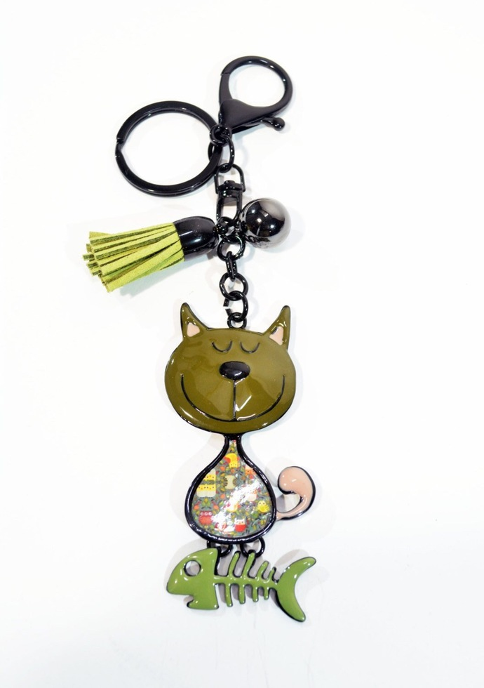 Lacquered Metal Cat Key Ring-Free Shipping