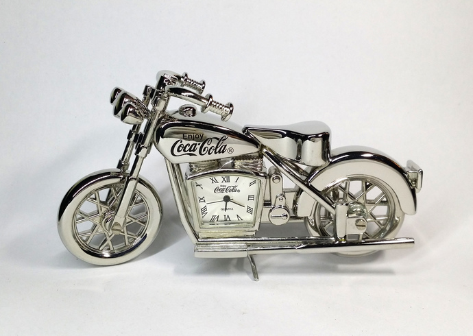 Coca Cola Indian Motorcycle Silver Metal Desk Clock - Tested Works