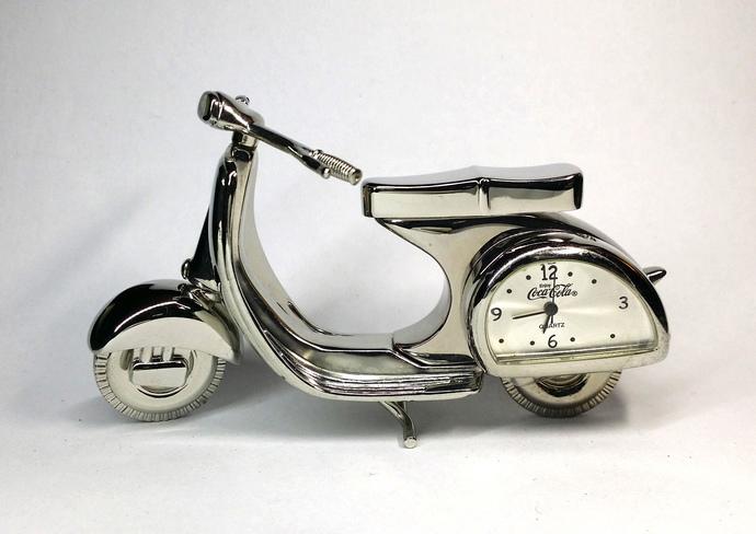 Coca Cola Motor Scooter Silver Metal Desk Clock - Tested Works