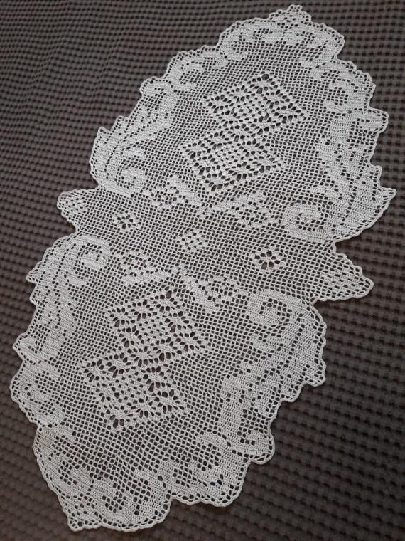 "Grey fillet crocheted oval doily, Size app.53 cm x 91 cm (20.87"" x 35.83""), 100%"