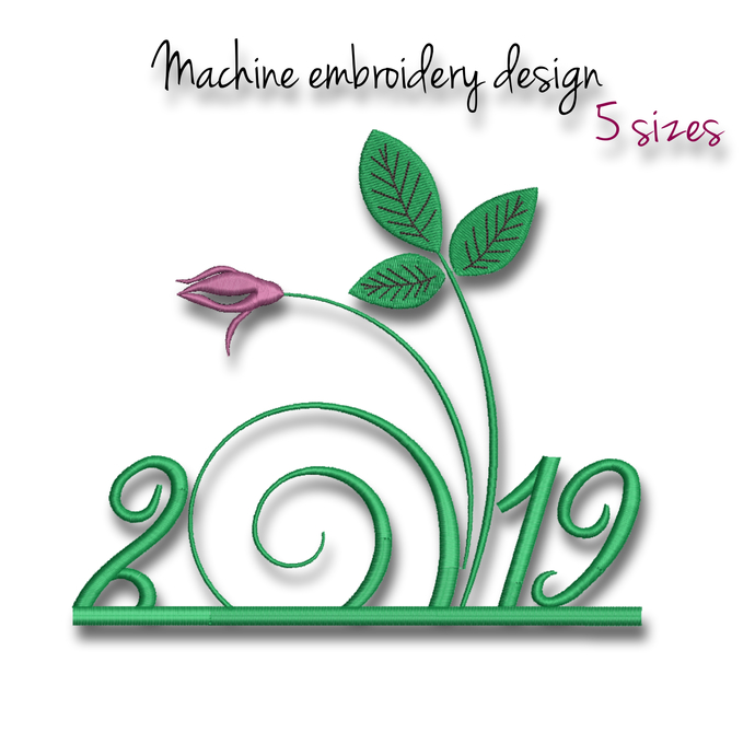 Embroidery Machine Designs Happy New Year 2019 instant digital download pattern