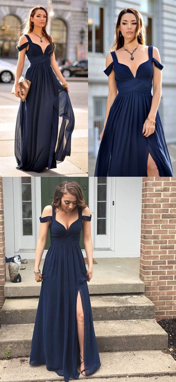 Sexy Slit Prom Dress,Navy Blue Occasion Dress,Off Shoulder Sexy Formal Party