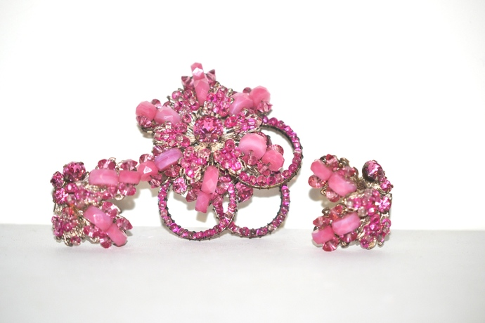 Signed Miriam Haskell Pink Beaded Rhinestone Brooch and Earrings