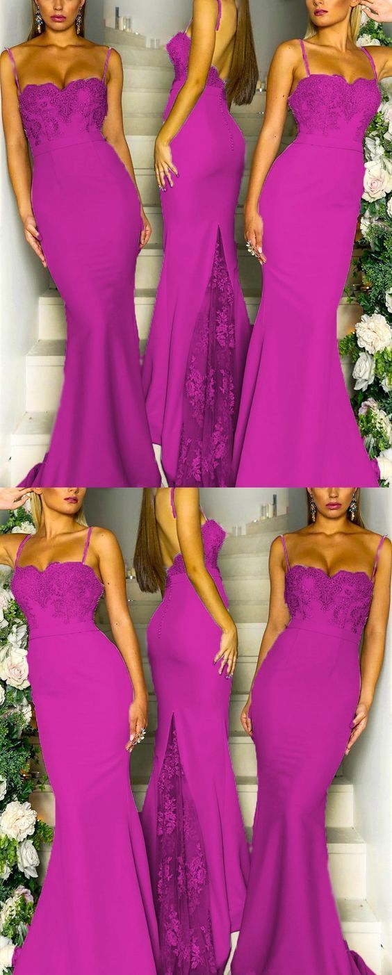Lace Appliques Sweetheart Mermaid Spaghetti Straps Bridesmaid Dresses Long