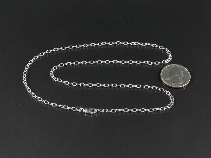 """Argentium 20"""" Silver 20"""" Chain, Textured Oval Cable Links 4 x 2.7mm"""