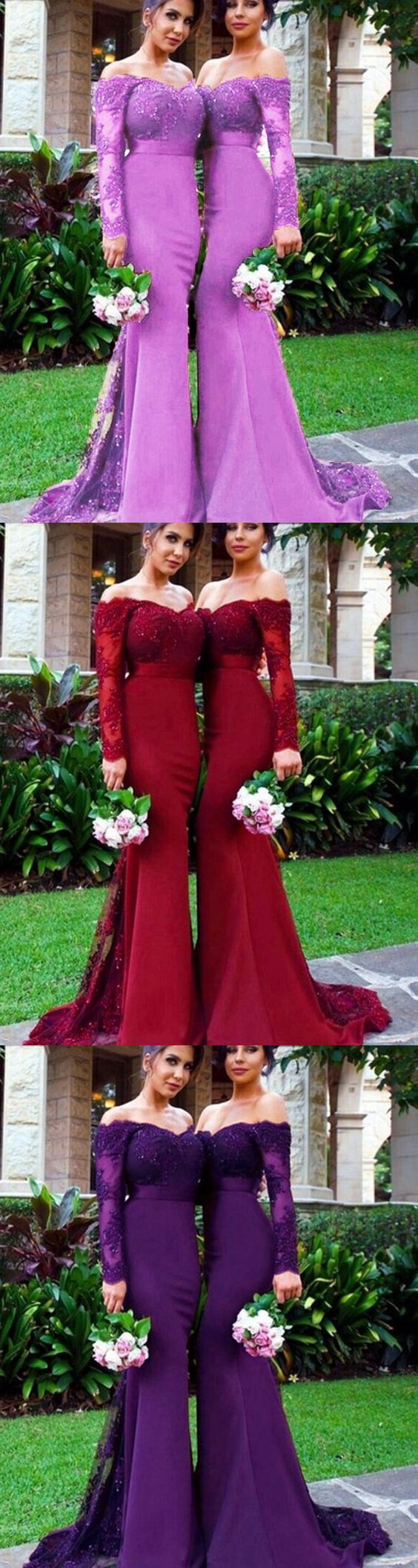 Vintage Women  Bridesmaid Dress with Long Sleeves for Wedding Party