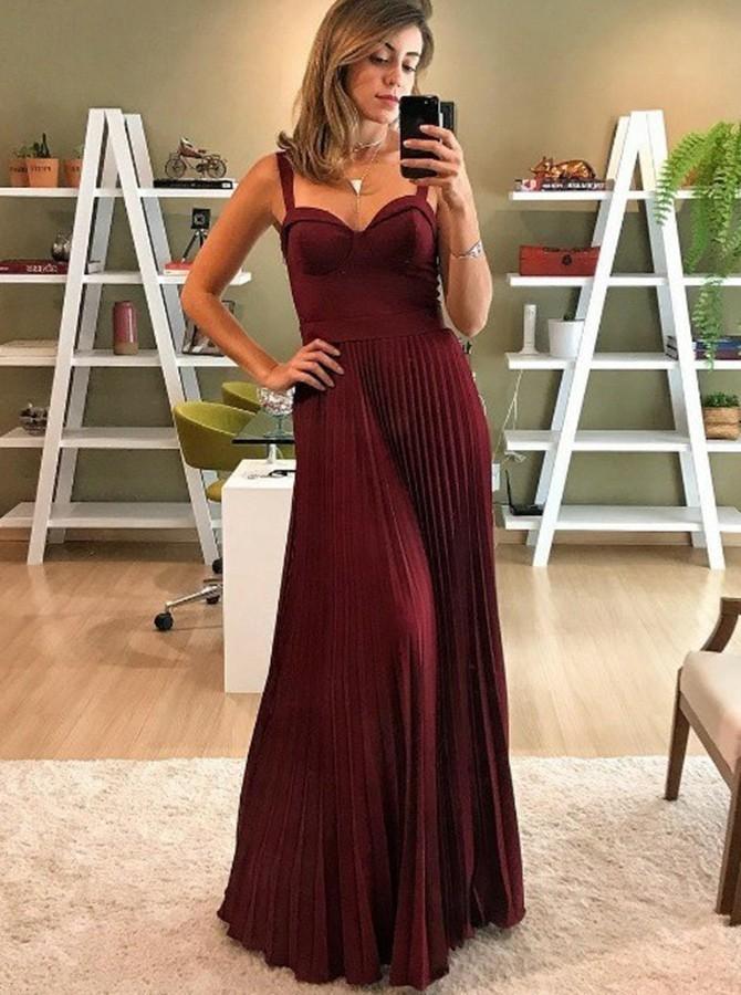 Spaghetti Straps Burgundy Prom Dresses Long Evening Dresses