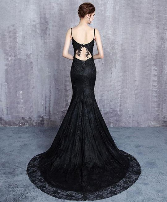 NEW COMING BLACK LACE PROM DRESS, MERMAID PROM DRESS, LONG EVENING GOWN WITH