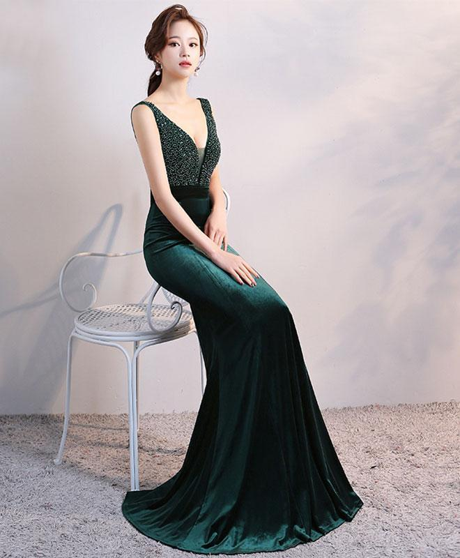 ELEGANT GREEN VELVET LONG EVENING DRESS, V NECK PROM DRESS