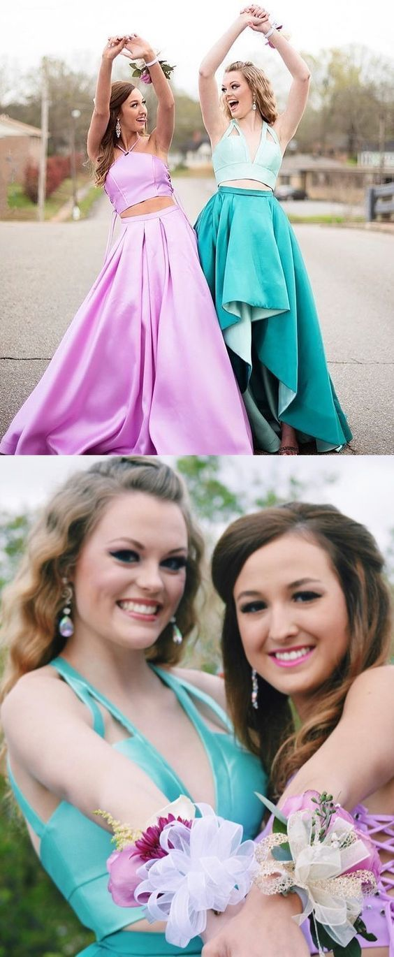 Two Piece Halter Sweep Train Pleated Pink Satin Prom Dresses