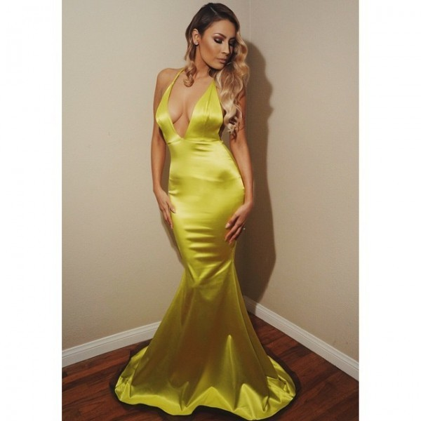 Sexy Evening Dress Mermaid Yellow Deep V-neck Satin Long Evening Dresses Prom