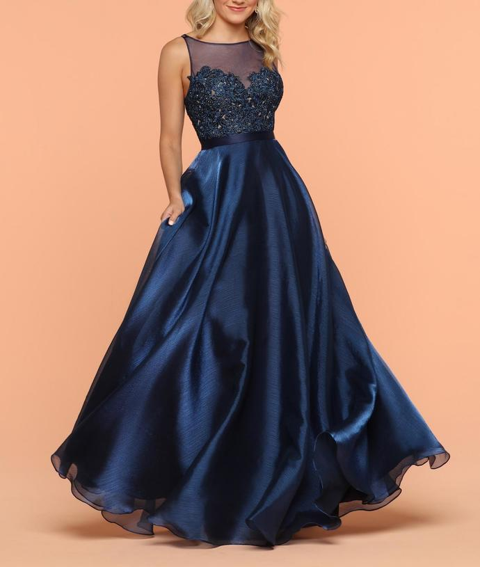 Modest Navy Blue Baeatu Neckline Embroidered Lace Organza Long Prom Dresses with