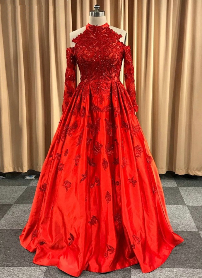 Gorgeous Red Satin Long Sleeve Formal Prom Gown By Cutedress On