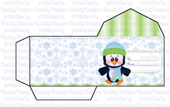 image about Envelope Printable named Printable Reward Card Holder, Envelope, Penguins, Xmas, Winter season, Do-it-yourself, Immediate Obtain