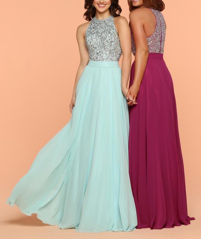Modest Aqua Round Neeck Sequin Chiffon Full Length Prom Dresses A-line Evening