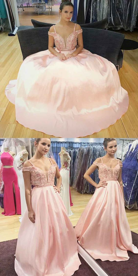 A-Line Pink Prom Dress with Beading,Sexy Party Dress,Formal Dress,8112001