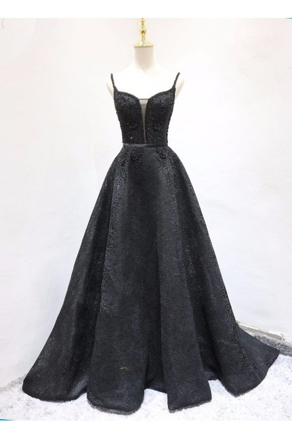 Black Ball Gown Beaded Prom Dress,Prom Dress,Prom Dresses,Long Prom Dress