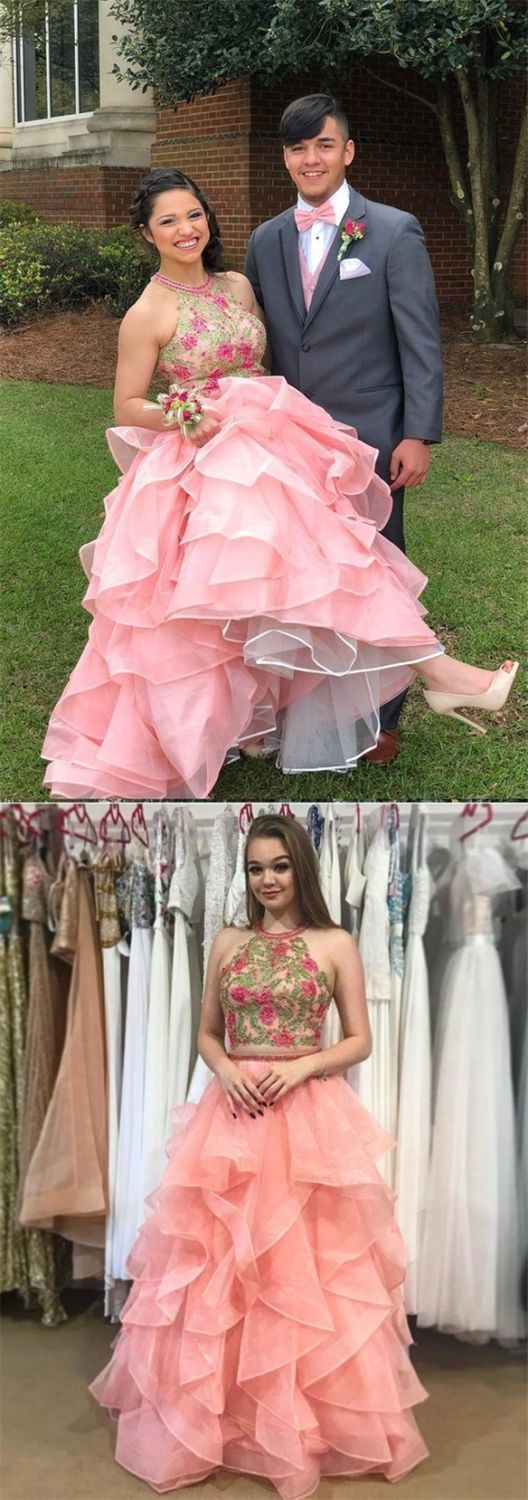 Two Piece Round Neck Pink Organza Prom Dress with Appliques,Sexy Party
