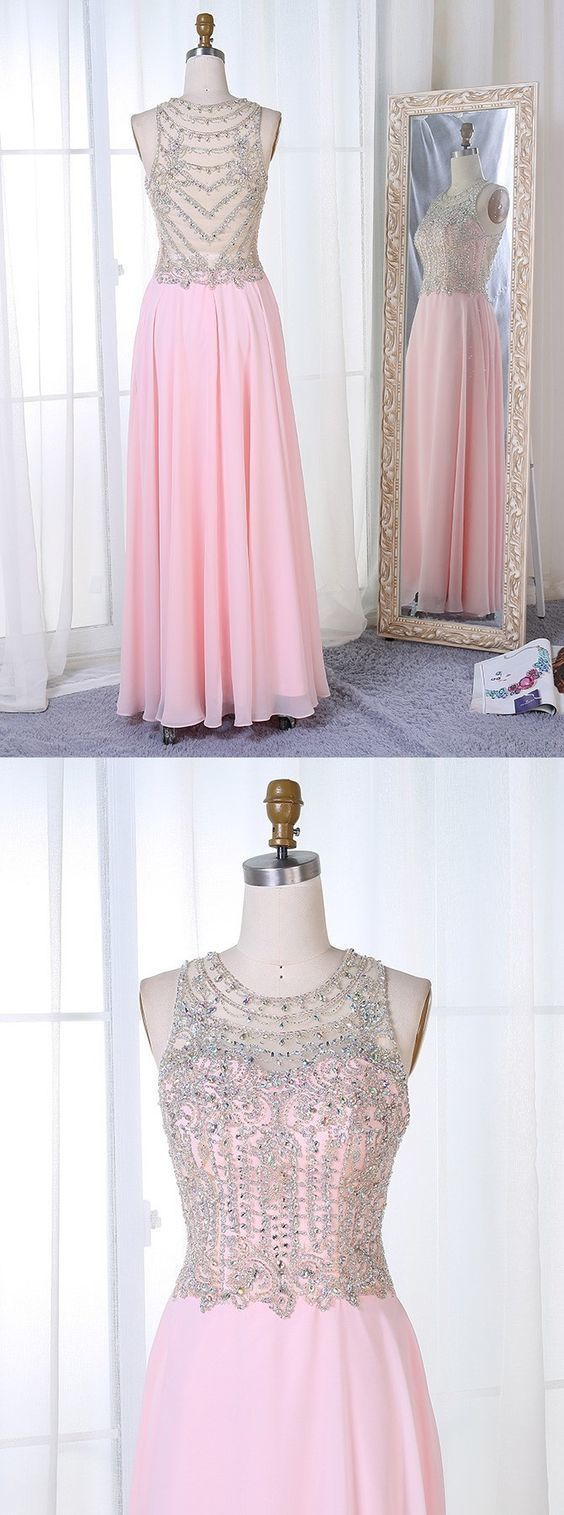 A-Line Round Neck Floor-Length Pearl Pink Chiffon Beaded Prom Dress,Sexy Party