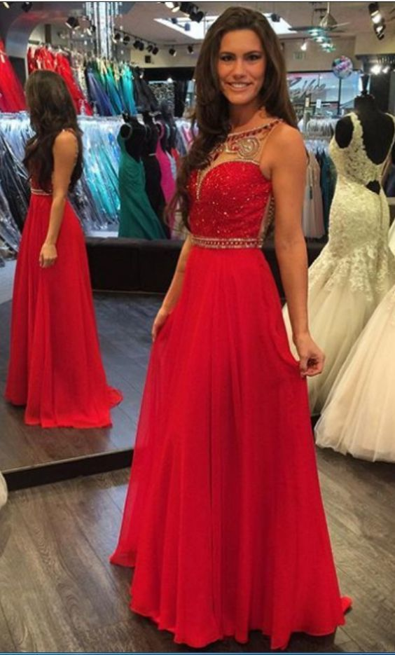 Luxurious Scoop Beads Long Red Prom Dress/Formal Evening Dress,Sexy Party
