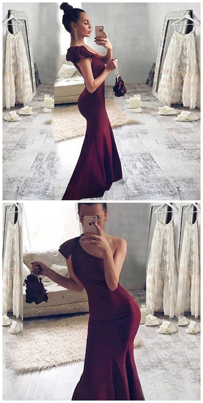 Mermaid One Shoulder Sweep Train Burgundy Stretch Satin Prom Dress with Ruffles