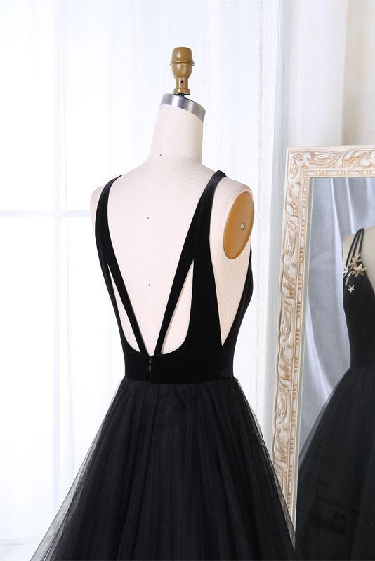 SIMPLE BLACK TULLE V NECK LONG PROM DRESS, BLACK EVENING DRESSES