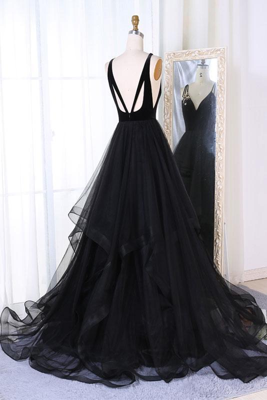SIMPLE BLACK TULLE V NECK LONG PROM DRESS, BLACK EVENING DRESSES