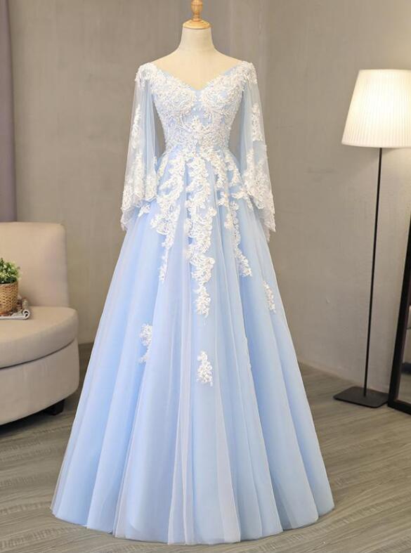 480fe7e8b7 V Neck Light Blue Tulle Prom Dress Lace Appliques A-line Evening Gowns  DFG0001