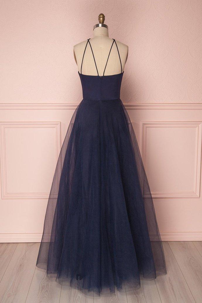 SIMPLE DARK BLUE TULLE LONG PROM DRESS, BLUE TULLE EVENING DRESSES