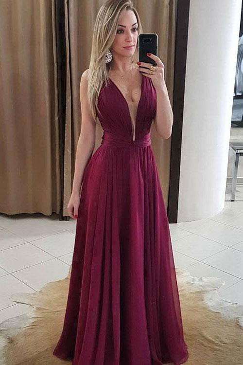 SIMPLE V NECK CHIFFON BURGUNDY LONG PROM DRESS, BURGUNDY EVENING DRESSES