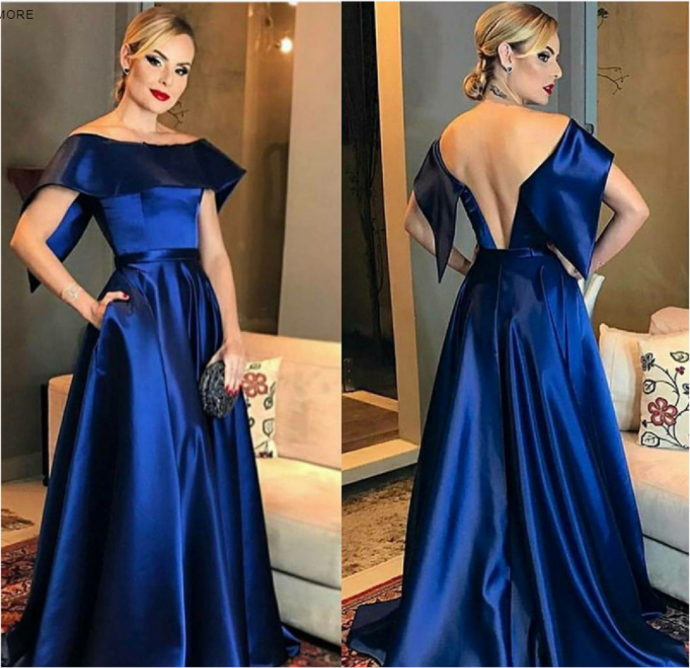 A-Line Off the Shoulder Sweep Train Royal Blue Satin Prom Dress with Pockets