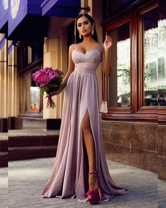 Spaghetti Straps Maxi Dress Pageant Dress with Slit