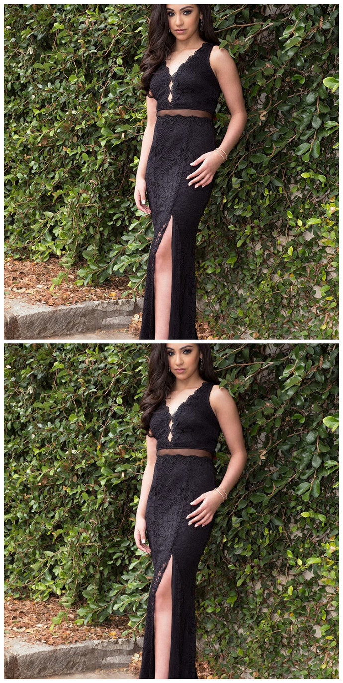Sheath V-Neck Split Front Black Lace Long Prom Dresses