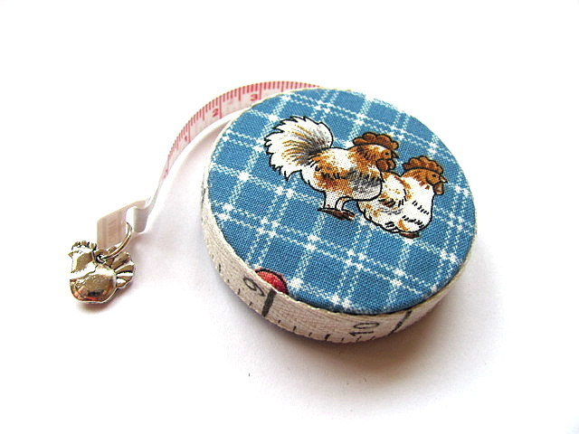 Measuring Tape Plaid Country Chickens Retractable Pocket Tape Measure